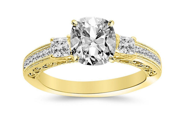 1.25 Ctw 14K White Gold Three 3 Stone Princess Cut Channel Set GIA Certified Diamond Engagement Ring Cushion Cut (0.75 Ct L Color VVS2 Clarity Center Stone)