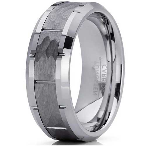 CERTIFIED Hammered Grooved Tungsten Carbide Wedding Band Ring.