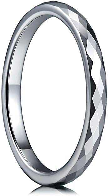 CERTIFIED Multi-faceted Tungsten Wedding Band Ring (Many Width)