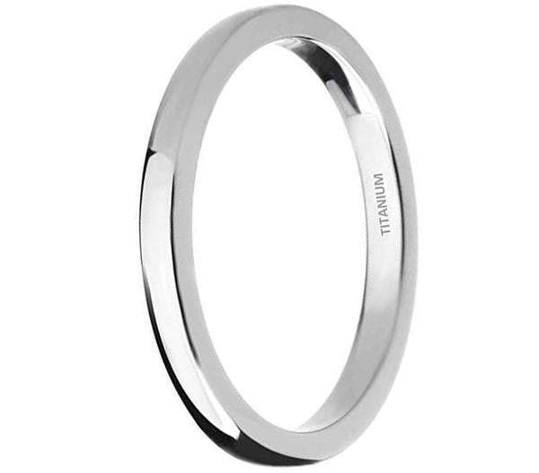 CERTIFIED 2MM Polished Comfort Fit Titanium Wedding Ring Band
