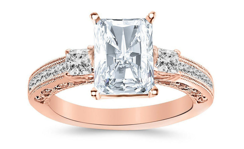 3.12 Ctw 14K White Gold Three 3 Stone Princess Cut Channel Set Radiant Cut GIA Certified Diamond Engagement Ring (2.62 Ct J Color SI1 Clarity Center Stone)