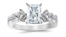 3.37 Ctw 14K White Gold Channel Set 3 Three Stone Princess Radiant Cut GIA Certified Diamond Engagement Ring (2.62 Ct J Color SI1 Clarity Center Stone)