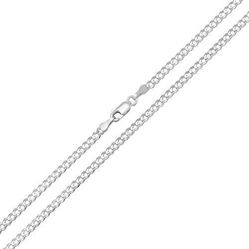CERTIFIED Forever Flawless Jewelry 14K White Gold 2.6mm Concave Curb Classic Link Chain Necklace