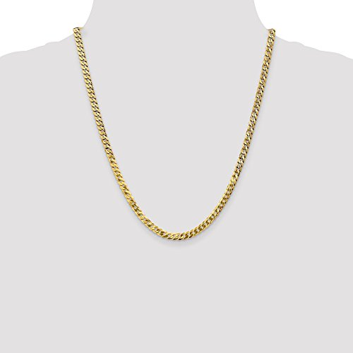 CERTIFIED  Solid 14K Yellow Gold 4.6mm Beveled Curb Chain