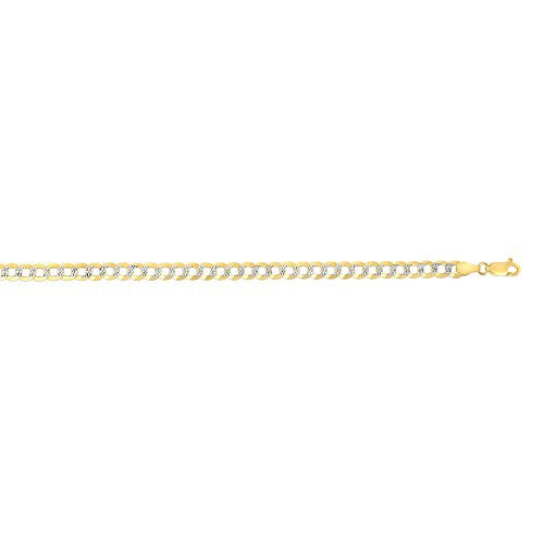 "TheDiamondDeal Mens Solid TwoTone 14K Yellow Gold 9.7mm Shiny Diamond-Cut Cuban Comfort Curb Chain Necklace For men for Pendants and Charms Or Bracelet with Lobster-Claw Clasp (8.5"", 24"" or 26 inch)"