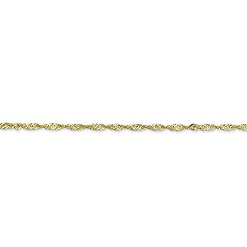 "CERTIFIED 10k Yellow Gold Polished 1.7mm Singapore Link Chain Bracelet 7"" - 30"""