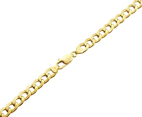 CERTIFIED LoveBling 10K Yellow Gold 6.5mm Hollow Curb Cuban Chain Necklace (Available from 20-28 inches)