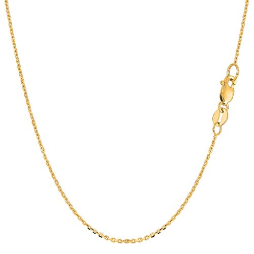 "14K Yellow or White or Rose/Pink Gold 1.1mm Shiny Diamond Cut Lite Cable Link Chain Necklace for Pendants and Charms with Lobster-Claw Clasp (16"" 17"" 18"" 20"" or 24 inch)"