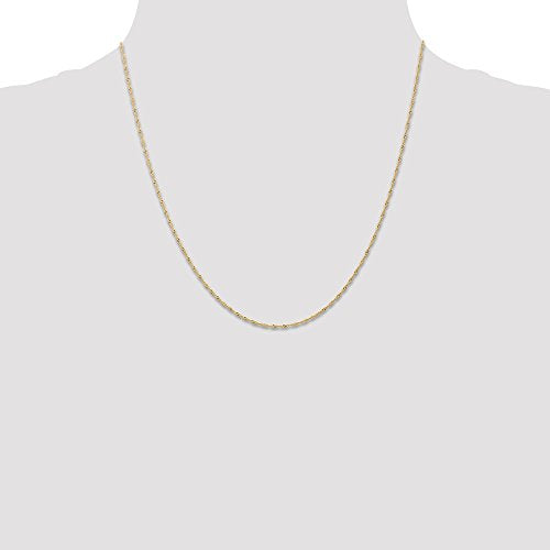 CERTIFIED  14K Yellow Gold 1mm Singapore Chain (CARDED)