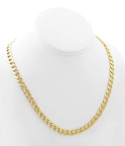 CERTIFIED LoveBling 10K Yellow Gold 7.5mm Hollow Curb Cuban Chain Necklace (Available from 22-28 inches)