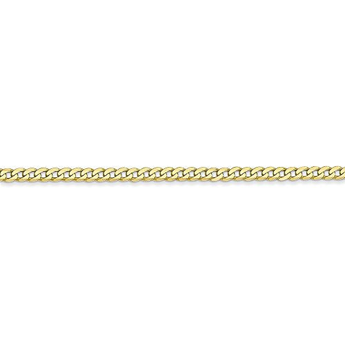 CERTIFIED 10k Yellow Gold 2.2mm Flat Beveled Curb Chain With Secure Lobster Clasp
