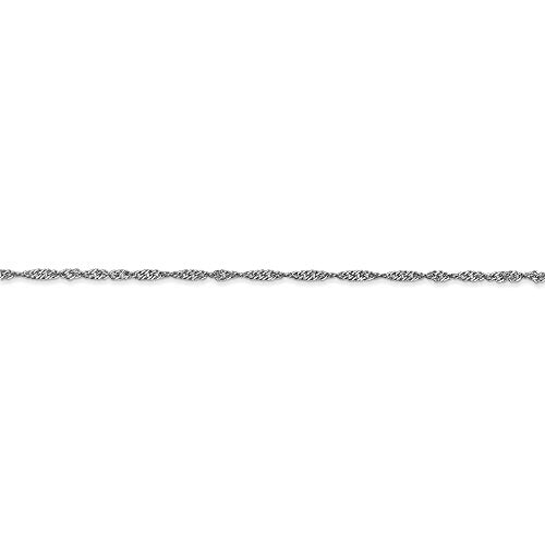 CERTIFIED  14k White Gold 1.4mm Singapore Chain Anklet