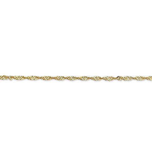 CERTIFIED  14K Yellow Gold 1.70mm Singapore Chain Anklet
