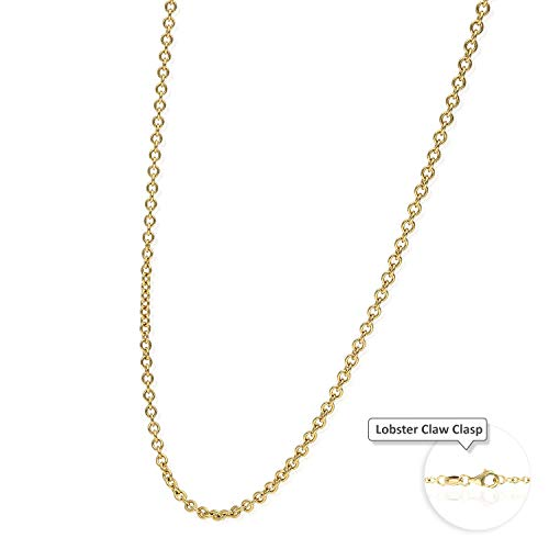 "18K Solid Yellow Gold 2mm Thick Cable Link Chain Necklace 16"" 18"" 20"" 22"" 24"""