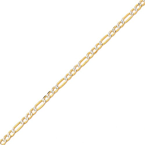"reamra CERTIFIED MR. BLING 10K Yellow Gold 3.5mm Pave Two-Tone Figaro Hollow Chain Necklace with White Pave Diamond Cut, Lobster Lock (18"" to 30"")"