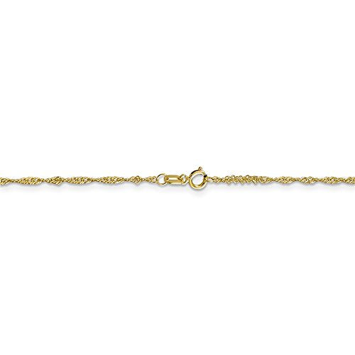 CERTIFIED   10K Yellow Gold 1.3 mm Singapore Chain