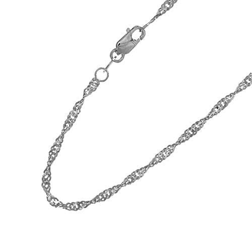 "CERTIFIED 14K Yellow or White Gold 1.50mm Shiny Classic Singapore Chain Necklace for Pendants and Charms with Lobster-Claw Clasp (16"" 18"" 20"" or 24 inch)"