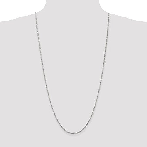 CERTIFIED  14k White Gold 1.7mm Singapore Chain Anklet