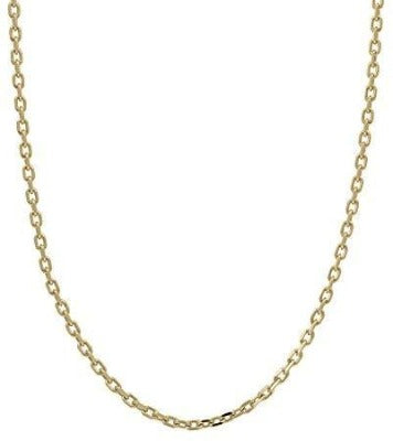 0.8mm 14K Solid Yellow Gold Cable Chain Necklace