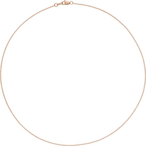 18K Gold 1 mm Solid Cable Chain Necklace