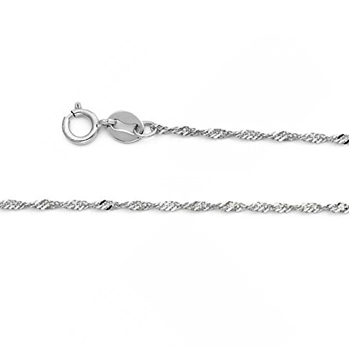 CERTIFIED American Set Co. 14k Solid White Gold 1.2mm Singapore Chain Necklace with Spring Ring Clasp