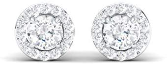 DGLA Certified Natural Gemstone and Diamond Halo Petite Stud Earrings in 14K White Gold | 0.63 Carat Earrings for Women