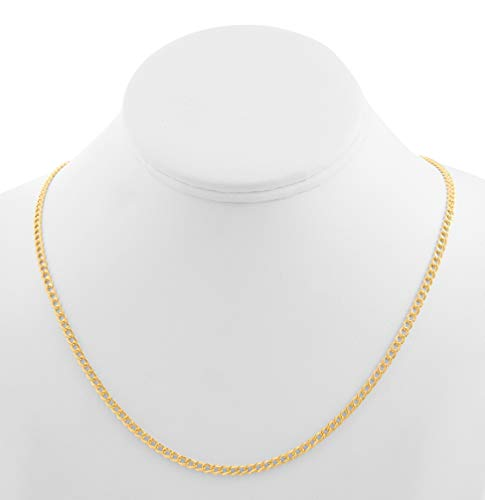 CERTIFIED LoveBling 10K Yellow Gold 3.5mm Hollow Curb Cuban Chain Necklace (Available from 18-24 inches)