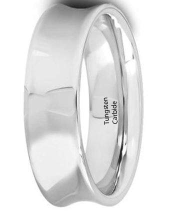 CERTIFIED 6 mm Mens Tungsten Carbide Rings Polished Concave.