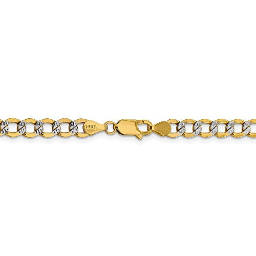 CERTIFIED 14k Yellow Gold 5.2mm Semi-solid Pave Curb Chain Necklace