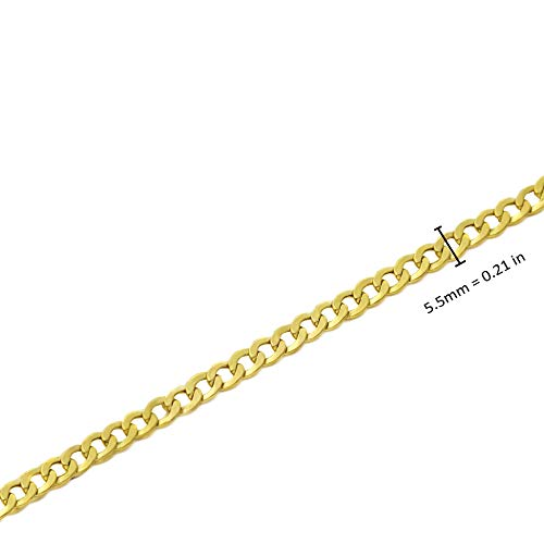 CERTIFIED LoveBling 10K Yellow Gold 5.5mm Hollow Curb Cuban Chain Necklace (Available from 20-28 inches)