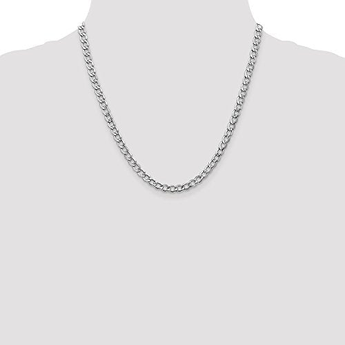 CERTIFIED 14k White Gold 5.25mm Curb Chain Necklace s Chain Necklace 9.56g