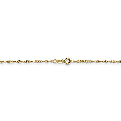 CERTIFIED   14K Yellow Gold 1.3 mm Singapore with Lock
