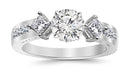2.25 Carat 14K White Gold Channel Set Past Present Future 3 Stone Princess GIA Certified Round Cut Diamond Engagement Ring (1.5 Ct F Color VVS2 Clarity Center Stone)