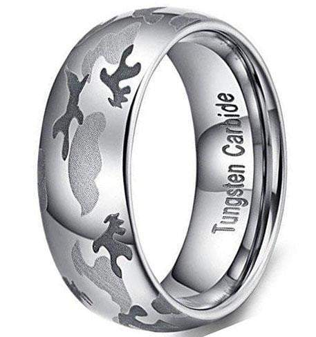 CERTIFIED 8mm Camouflage Hunting Tungsten Carbide Ring Camo Wedding Band.