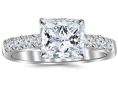 2 Carat GIA Certified Princess Cut Classic Prong Set Diamond Engagement Ring (I-J Color VVS1-VVS2 Clarity Center Stones)