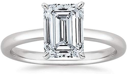 GIA Certified 1 Carat  18K White Gold Solitaire Emerald Cut Diamond Engagement Ring (D-E Coloress, VS1-VS2 Clarity)