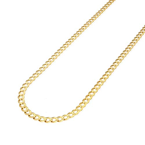 "reamra CERTIFIED 14k Solid Yellow Gold 5.7mm Cuban Curb Chain Necklace 20"" 22"" 24"" 26"" 28"" 30"""