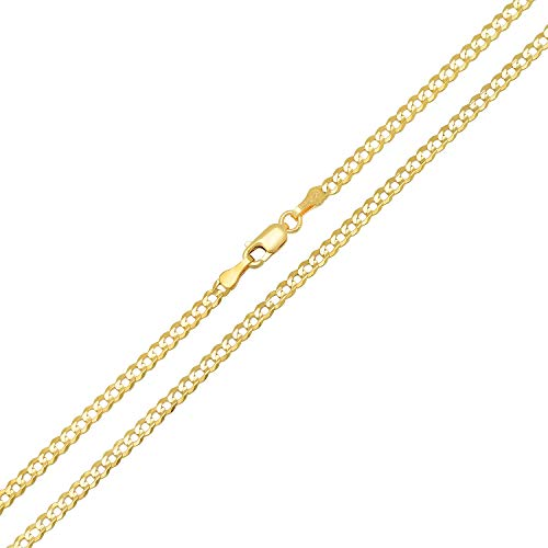 reamra CERTIFIED Forever Flawless Jewelry 14K Yellow Gold 2.6mm Concave Curb Classic Link Chain Necklace