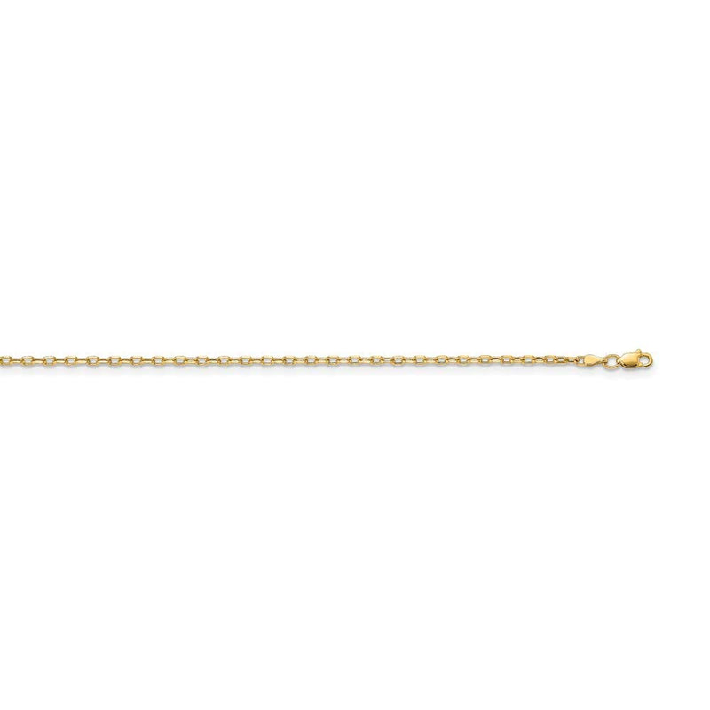 14k Yellow Gold 3mm Link Cable Chain Necklace 22 Inch Pendant Charm Round Fine Jewelry Gifts For Women For Her