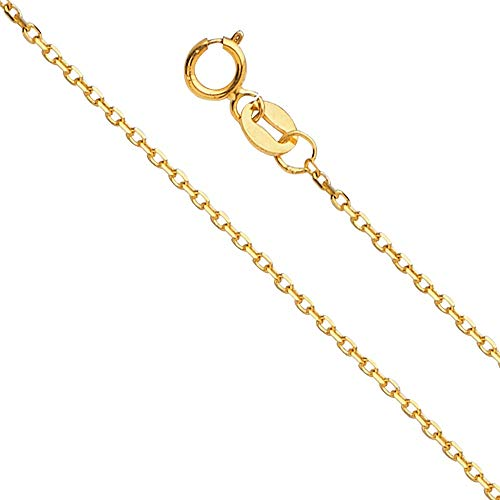 14k Yellow Gold 1.2-mm Thin & Dainty Diamond-cut Angled Rolo Cable Chain