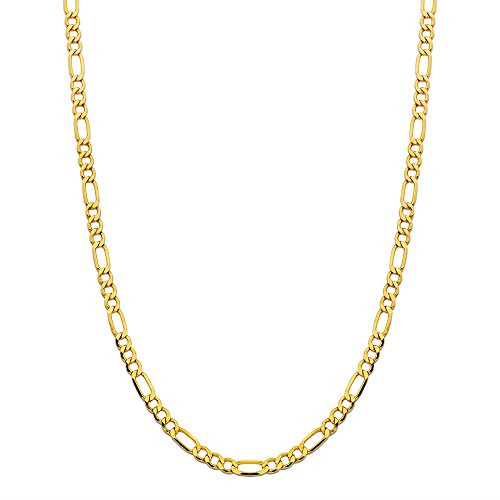 CERTIFIED 5.5mm 14K Yellow Gold  Solid Figaro Chain Necklace