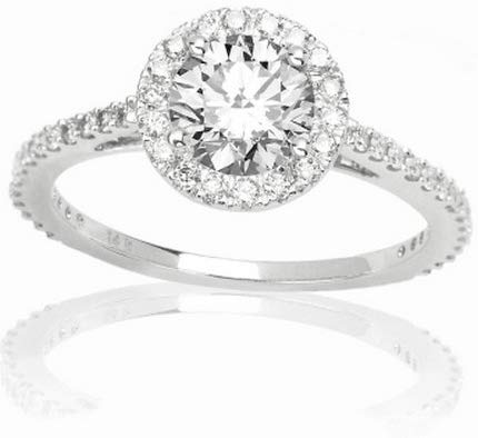 GIA Certified 0.83 Carat Round Brillant Cut/Shape 14K White Gold Classic Round Halo Diamond Engagement Ring 4 Prong with a 0.48 Carat,I Color, Flawless IF Clarity Center Stone