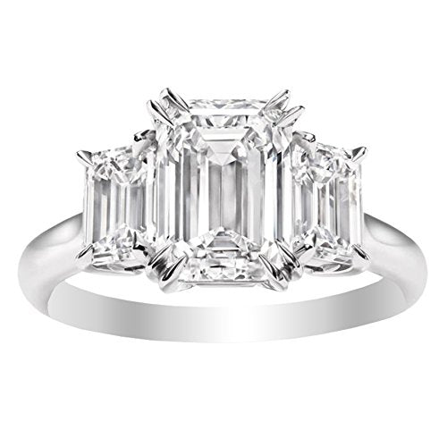 3 Three Stone GIA Certified Emerald Diamond Engagement Ring 14K White Gold (D-E Color VS1-VS2 Luxury Collection)