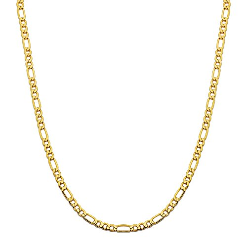 "CERTIFIED MR. BLING 10K Yellow Gold Figaro Chain Necklace, Available in 2mm to 6.5mm, 16"" to 30"""