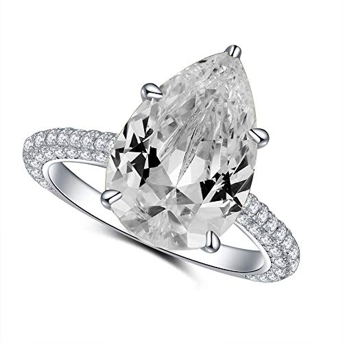CERTIFIED 5 Carat Pear Shaped Cubic Zirconia CZ Solitaire Promise Engagement Rings