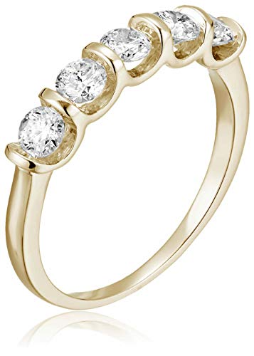 AGS CERTIFIED 1 cttw 5 Stone Channel Set Ring 14K White Gold