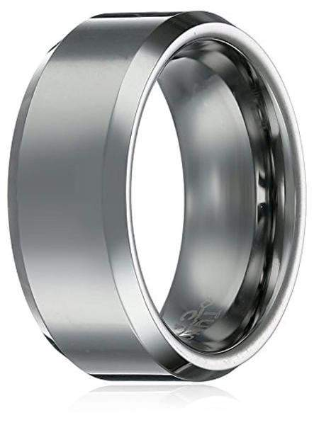 CERTIFIED 8Mm Tungsten Carbide Beveled Brushed Center Unisex Wedding Band Ring