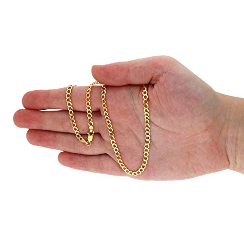 CERTIFIED 4mm 14k Solid Yellow Gold Cuban Concave Curb Chain Necklace and Bracelet
