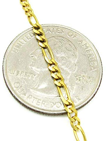 CERTIFIED 3.0MM 10K Yellow Gold Figaro 3+1 Link Chain Necklace