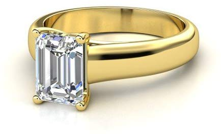 GIA Certified 14K Yellow Gold Solitaire Diamond Engagement Ring Emerald Cut (F Color SI1 Clarity 0.50 ctw)